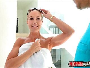 Two lusty big tits women Natalia and Brandi fucked on turns