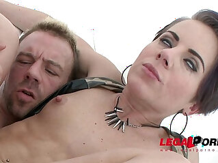 Sexy black slut Sasha Zima double anal training first DAP