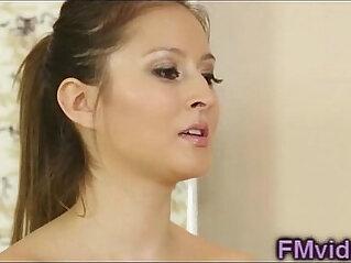 Beautiful brunette bathtub sucking