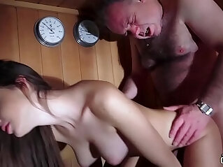 Dad Fucked Beautiful Virgin Pussy Gives Blowjob and Swallows the Cum