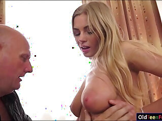 Busty Lolly Gartner titfucks and sucking off a grandpas cock