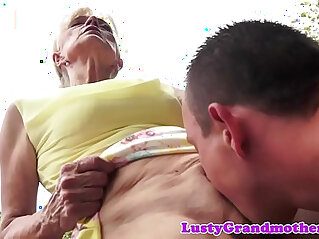 Hairy grandma gets anal banged outdoor action