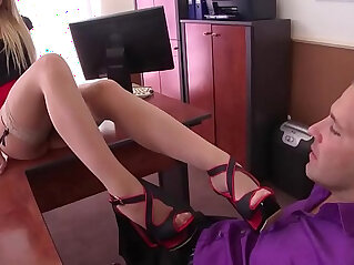 extreme: Extremely horny secretary in stockings gives perfect footjob
