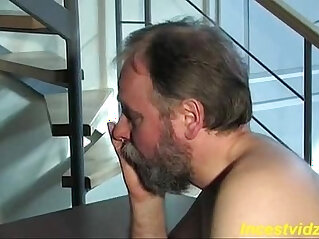 Cute blonde daughter fucks pussy with father