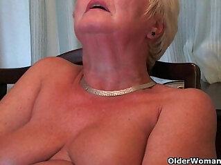 Busty and curvy grandma Sandie